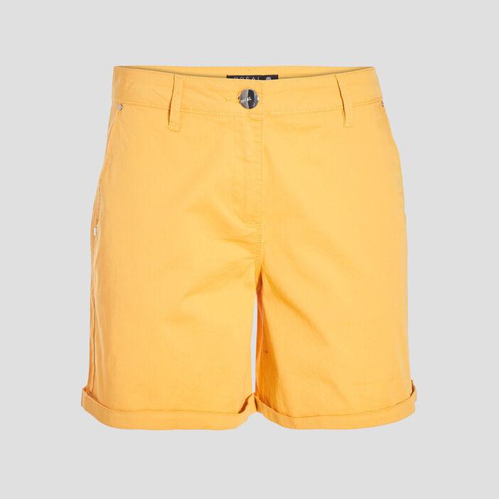 Short droit taille standard jaune or femme