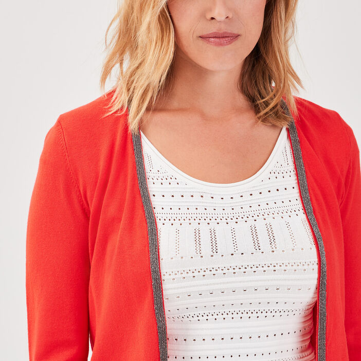 Gilet court manches 3/4 rouge femme
