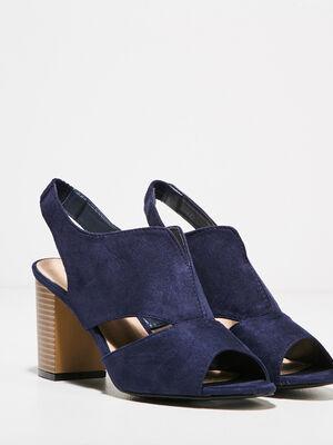 Sandales a talons bottiers bleu femme