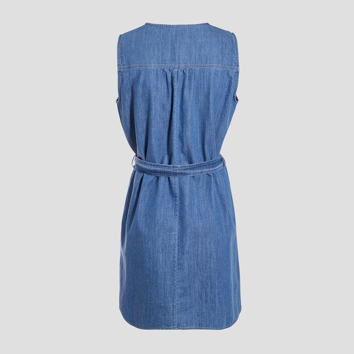 Robe droite ceinturée en jean denim stone femme