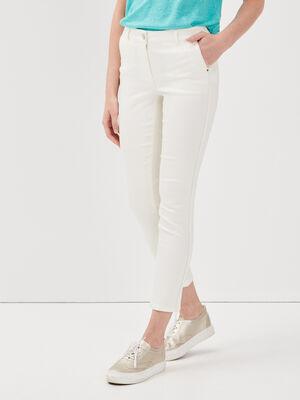 Pantalon ajuste bandes cotes ecru femme