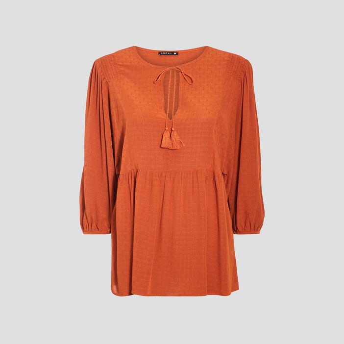 Blouse manches 3/4 orange foncé femme