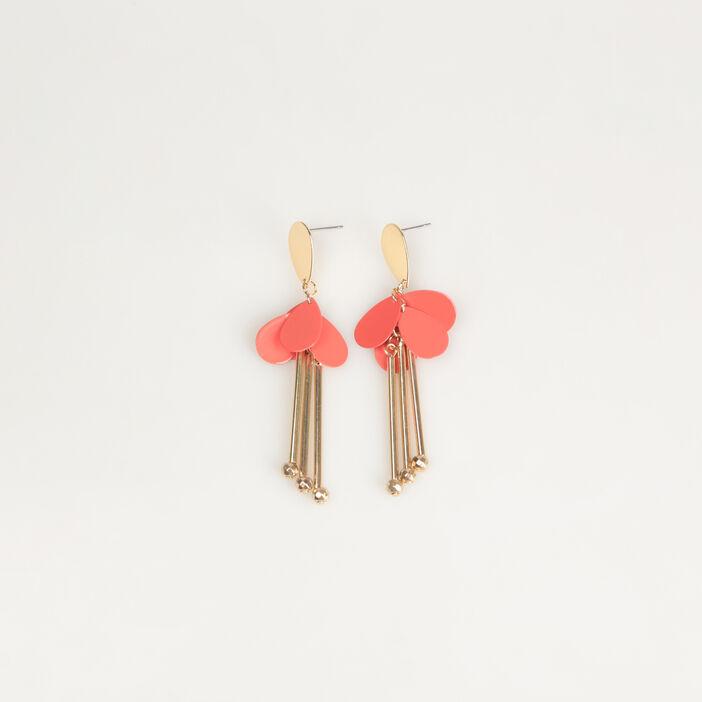 Boucles d'oreilles pendantes rouge corail femme
