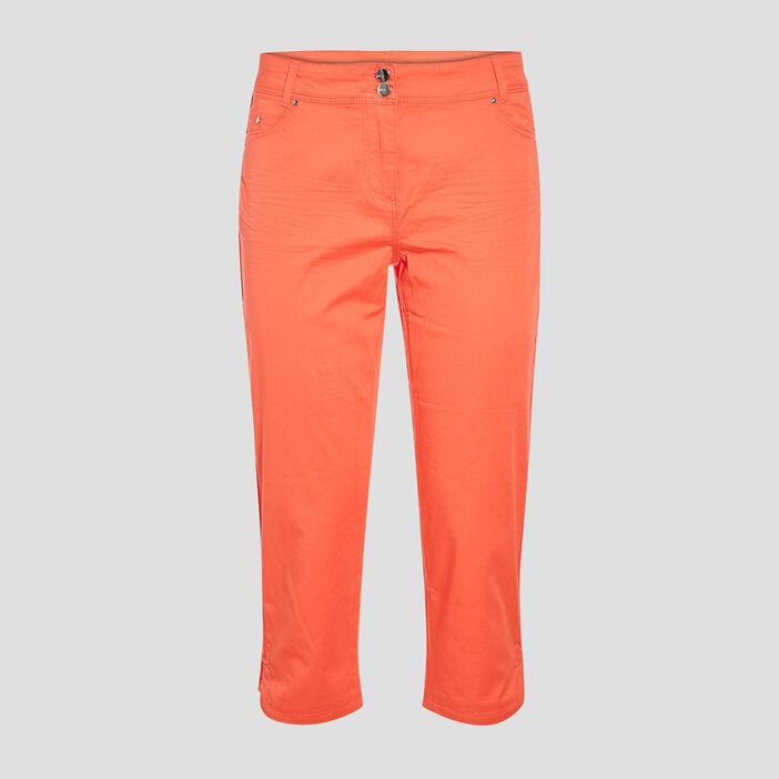 Pantacourt droit orange corail femme