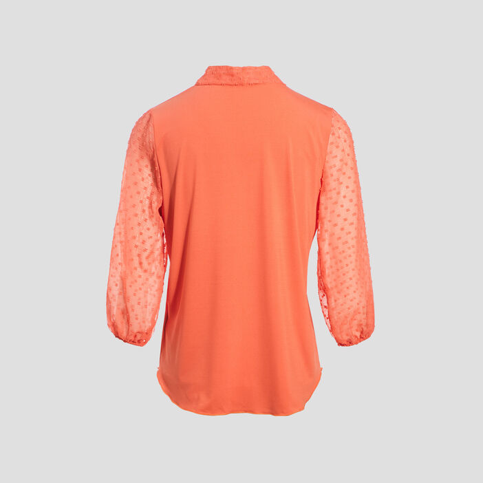 T-shirt manches 3/4 rose corail femme