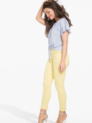 Pantalon leger toucher doux jaune femme