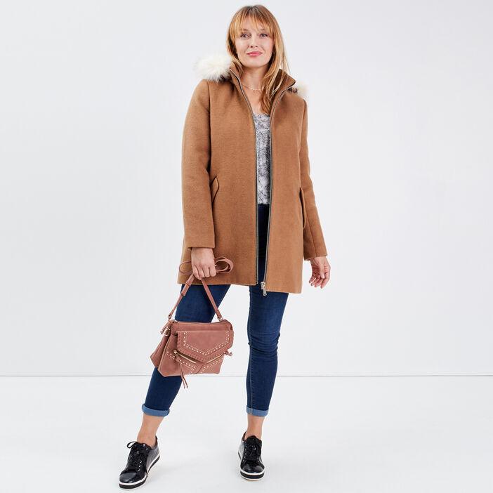 Manteau droit à capuche camel femme
