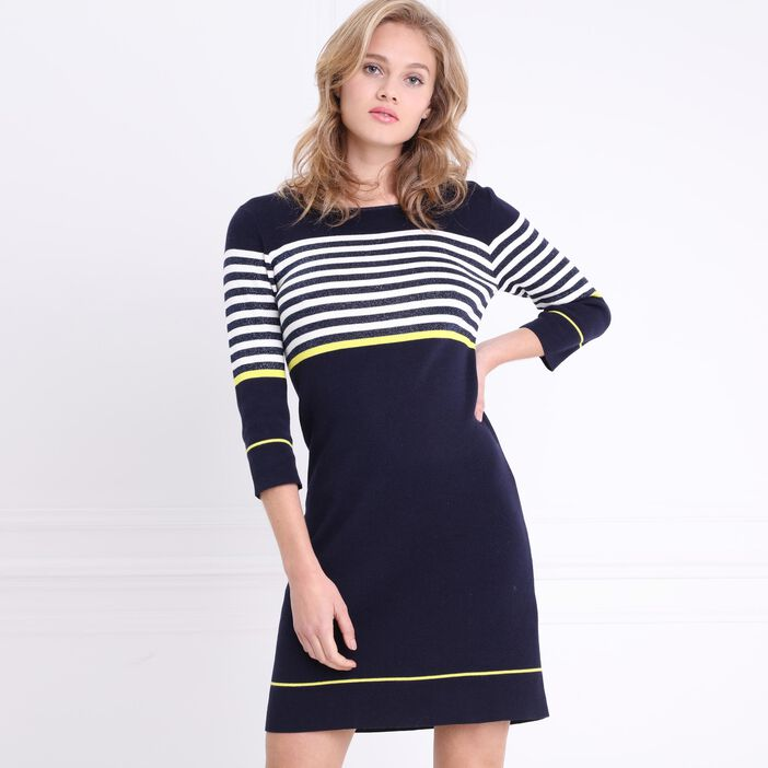 Robe tricot manches 3/4 bleu foncé femme