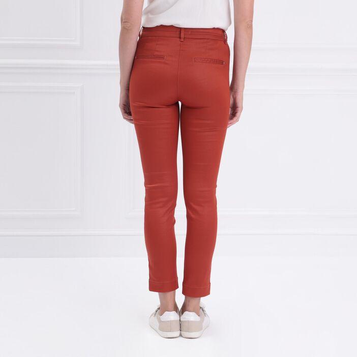 Pantalon ajusté enduit rouge femme