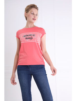 T shirt col rond rayures et message rose corail femme