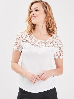 T shirt col rond avec macrame ecru femme