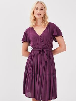 Robe evasee ceinturee violet fonce femme