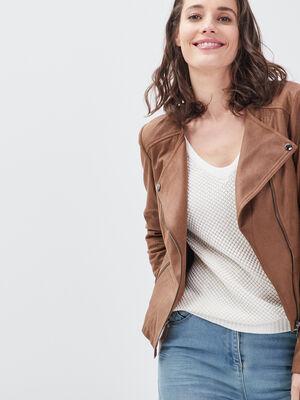 Veste droite zippee marron fonce femme
