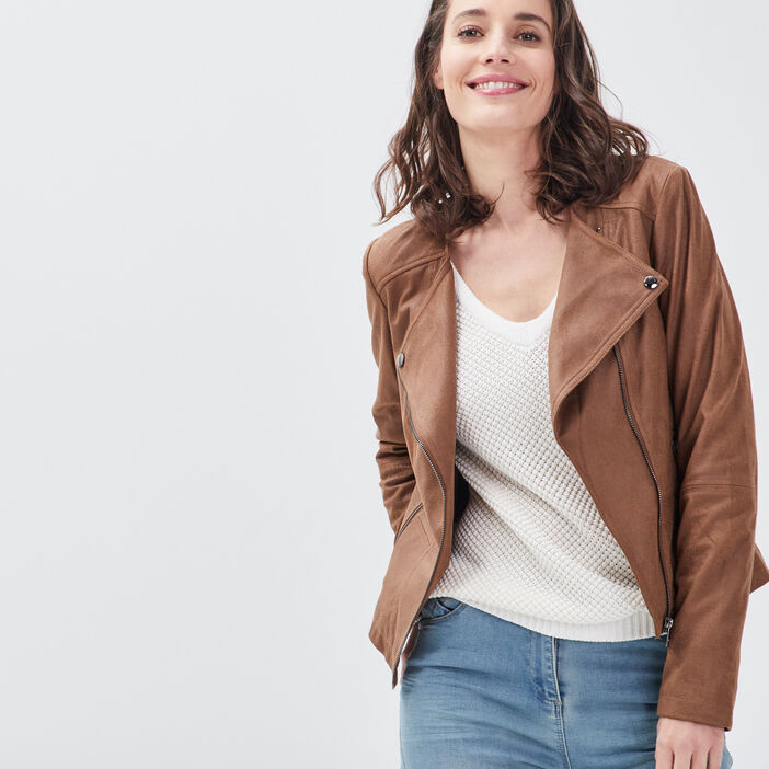 Veste droite zippée marron foncé femme