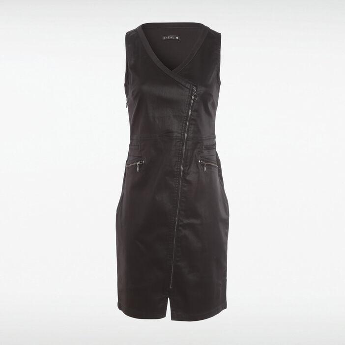 Robe ajustée zippée enduite noir femme