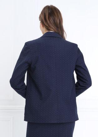 Veste droite col crante bleu marine femme