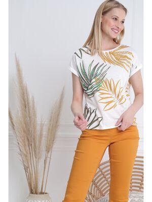 T shirt manche courte blanc femme
