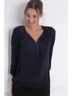 Chemise zippee details fantaisie gris fonce femme