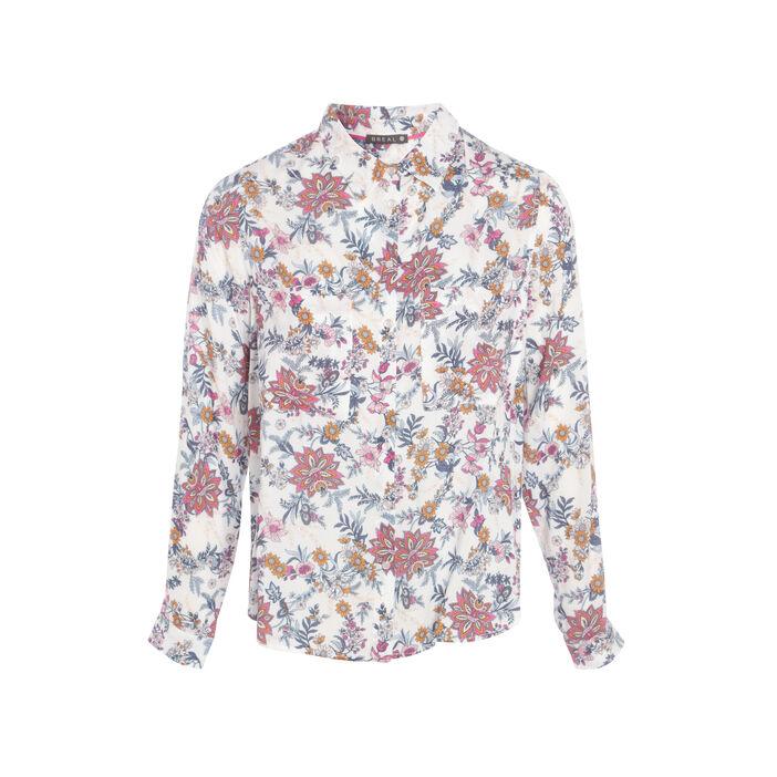 Chemise à fleurs blanc femme