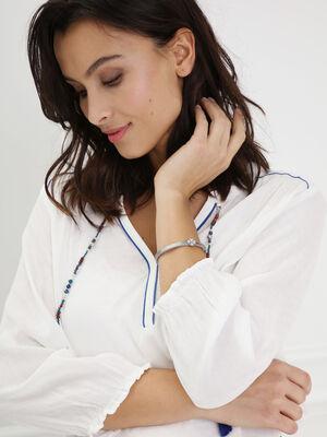 Bracelet metal trefle strass gris fonce femme