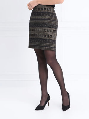 Jupe droite taille elastiquee noir femme