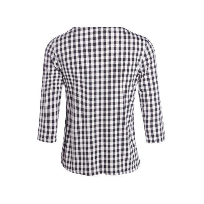 T-shirt col V motif Vichy manches 3/4 noir femme