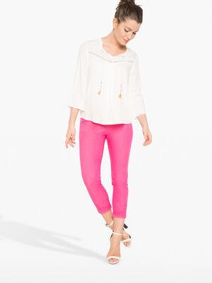 Pantalon 78e avec decoupes rose fushia femme