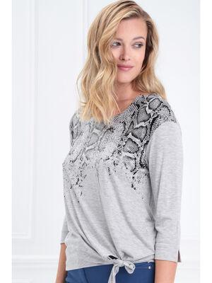 T shirt manches 34 noue gris clair femme