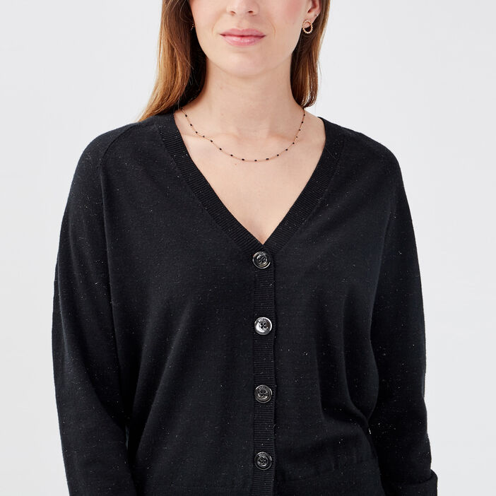 Gilet manches longues boutonné noir femme