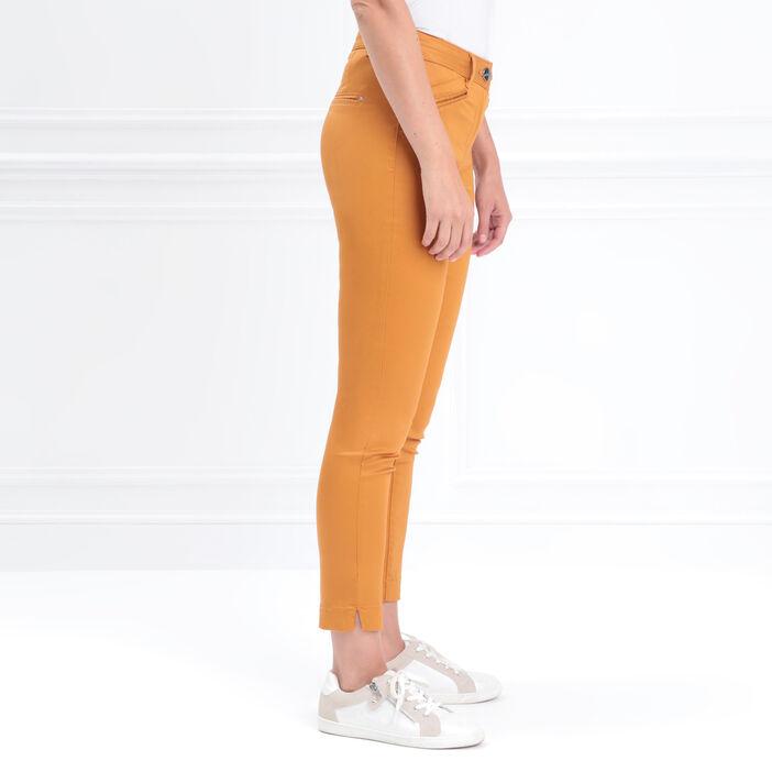 Pantalon ajusté enduit jaune moutarde femme