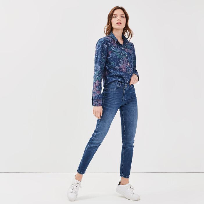 Chemise réversible en jean denim stone femme