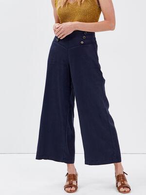 Pantalon large taille haute bleu fonce femme