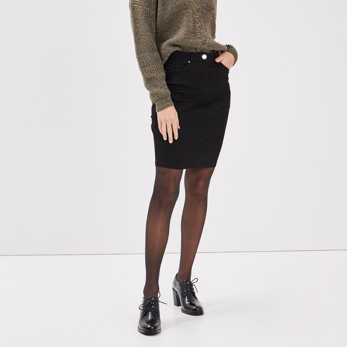 Jupe droite en jean noir femme