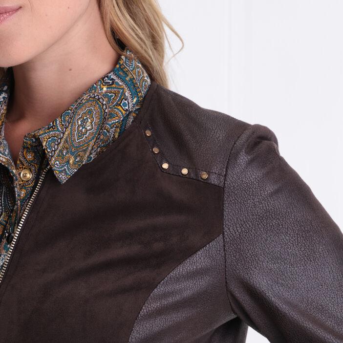 Veste droite zippée à clous marron foncé femme