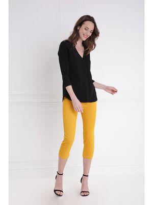 Pantacourt en toile jaune or femme