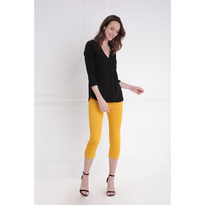 Pantacourt taille standard jaune or femme