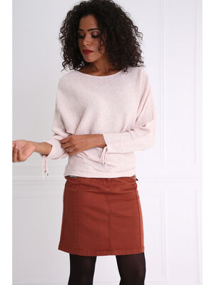 Pull details manches rose poudree femme