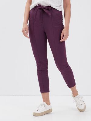 Pantalon ajuste taille haute violet fonce femme