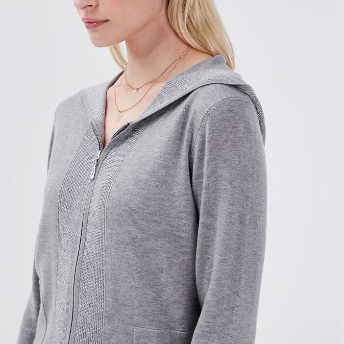 Gilet manches longues capuche gris clair femme