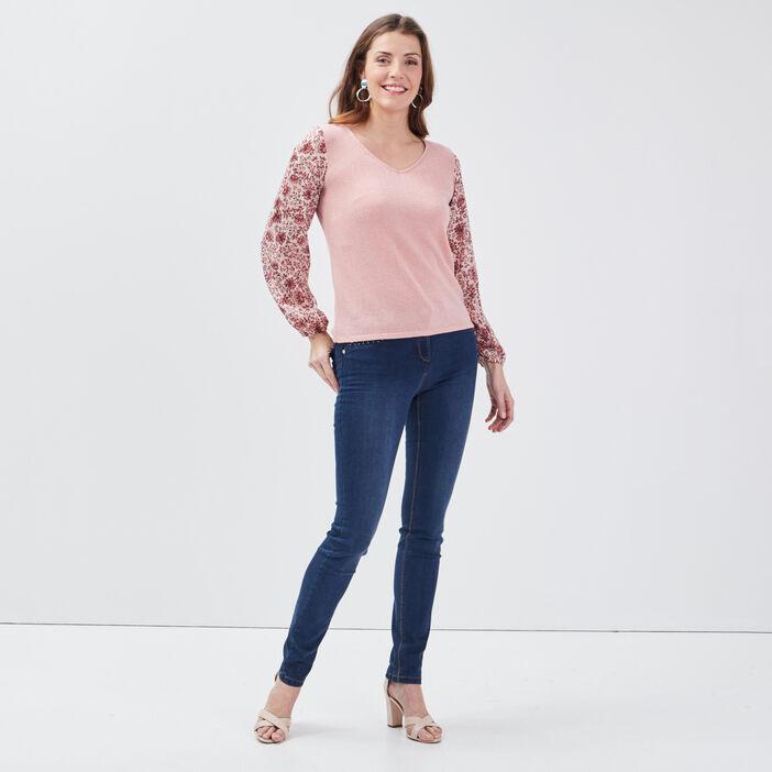 T-shirt manches longues rose femme