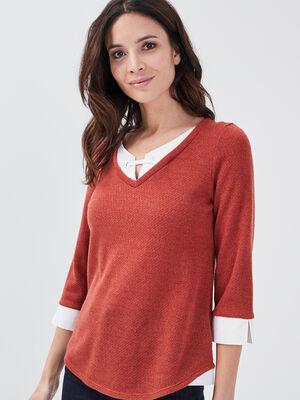 T shirt manches 34 2 en 1 rouge fonce femme