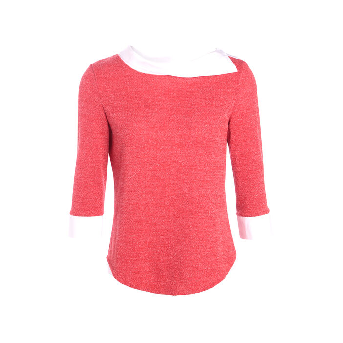 T-shirt maille bicolore et tissu uni rose fushia femme