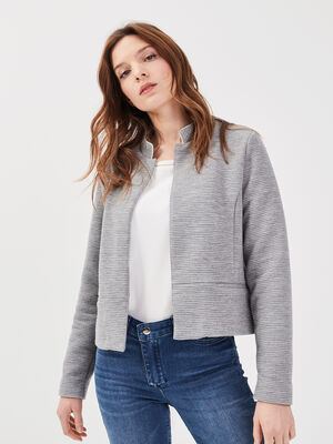 Veste droite col montant gris clair femme