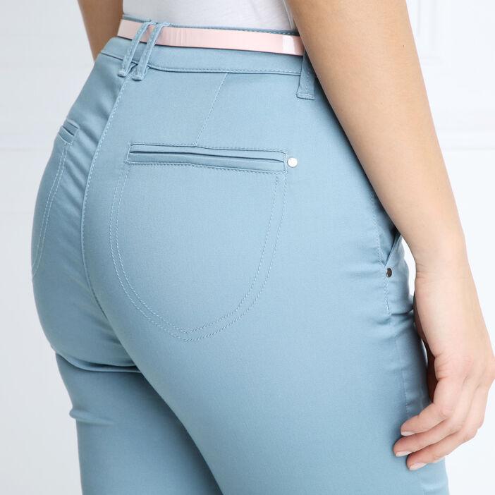 Pantalon chino ceinturé standard vert foncé femme