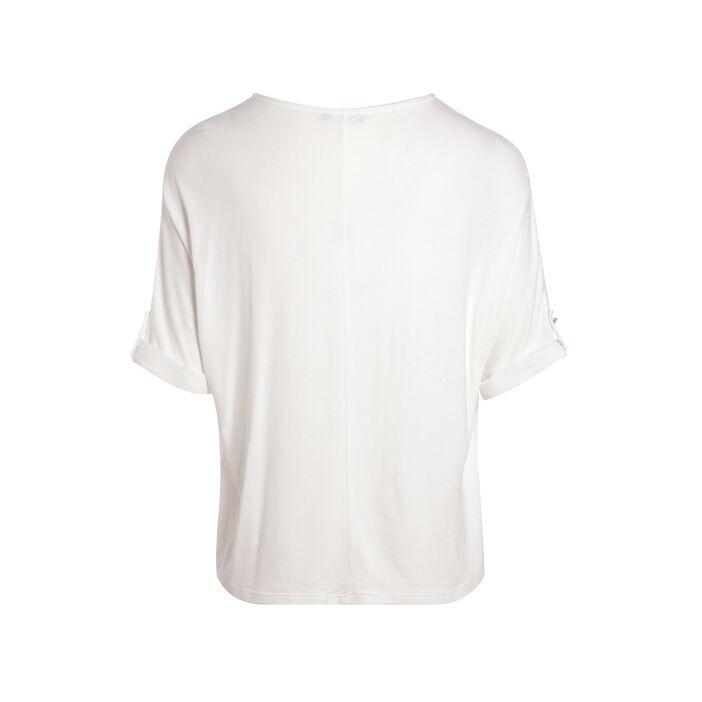 T-shirt avec lacage imprimé ecru femme