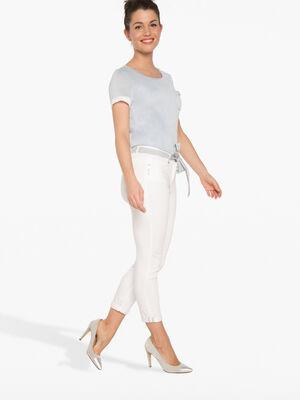 Pantalon 78e uni avec ceinture ruban ecru femme