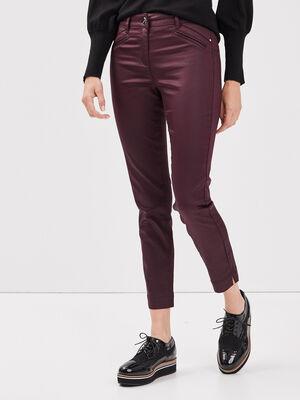 Pantalon ajuste enduit violet fonce femme