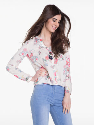 Chemise imprimee floral rose poudree femme
