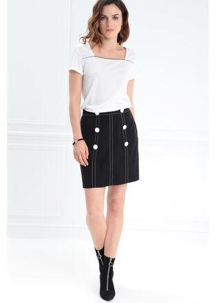 Jupe coutures contrastantes noir femme