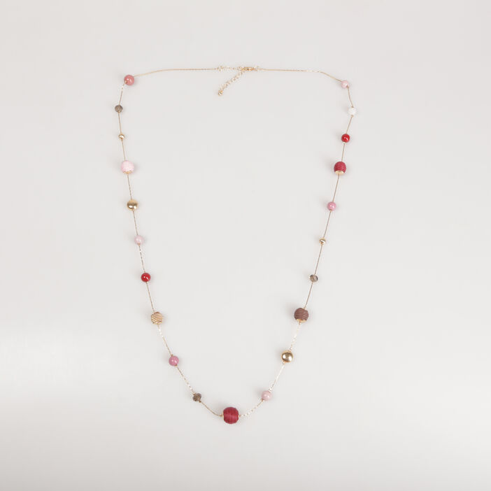 Sautoir chaînes et perles orange foncé femme